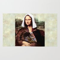scott pilgrim Area & Throw Rugs featuring Mona Lisa Thanksgiving Pilgrim  by Gravityx9