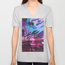 Palm Picnic, Sunset Beach, Modern Sunset, Abstract Sunset at Beach Painting Unisex V-Neck