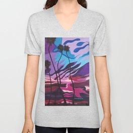 Palm Picnic, Sunset Beach, Modern Sunset, Abstract Sunset at Beach Painting Unisex V-Neck
