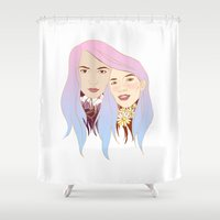 girls Shower Curtains featuring Girls by podborski