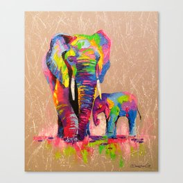 Elephants mother and son Canvas Print