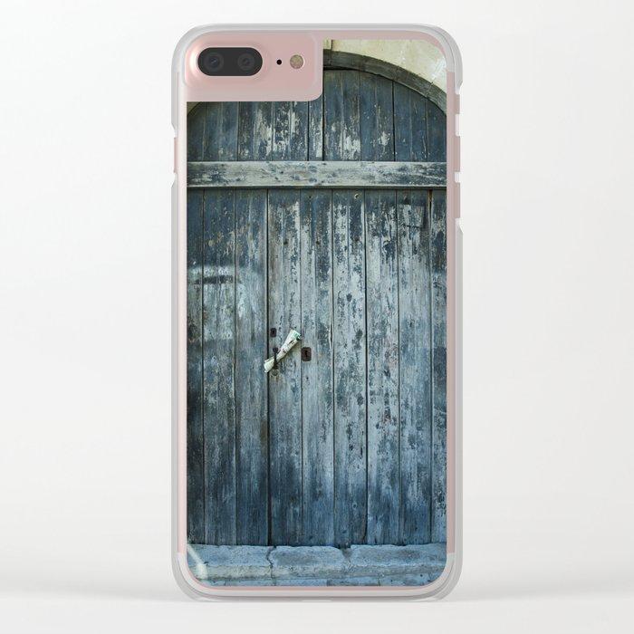 Blue door Clear iPhone Case