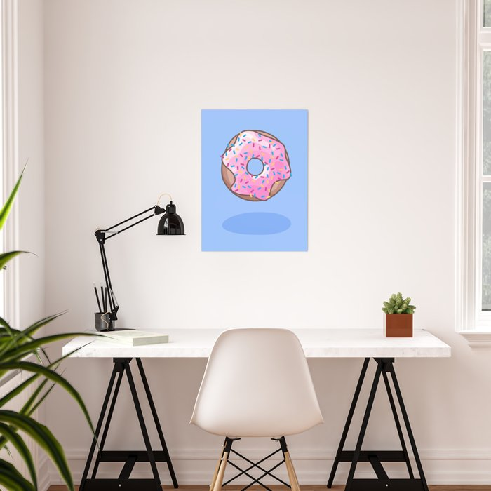 Pink Strawberry Donut Poster
