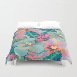 Aqua Ginger Alohas Duvet Cover