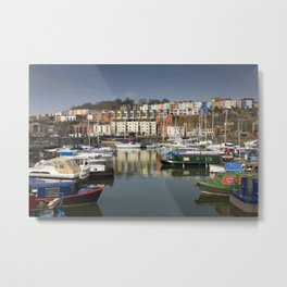 Bristol Boats and Coloured Houses Metal Print