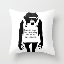 Monkey Sign by Banksy Throw Pillow