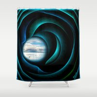 marley Shower Curtains featuring Everything is quiet in the eye of the storm by Giada Rossi