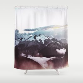 Faded mountain Shower Curtain