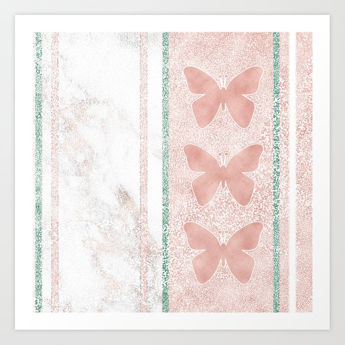 Snow White Peach Butterfly Abstract Pattern Art Print