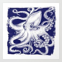 Octopus Tentacles Blue Ink Brushed Art Print