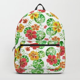 Watercolor Nasturtiums Backpack