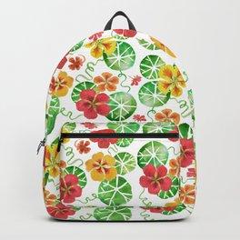 Watercolor Floral Simple Garden Nasturtium Flowers Backpack