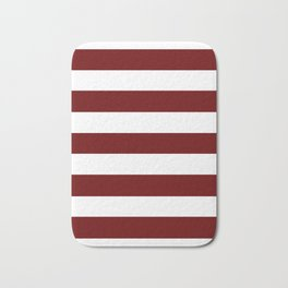 Blood red - solid color - white stripes pattern Bath Mat