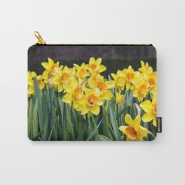 Field of Cheerful Yellow Daffodil Flowers with a Bee in One of Them in Amsterdam, Netherlands Carry-All Pouch