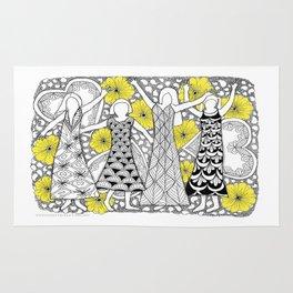 Zentangle Girls - Black and White Illustration Rug