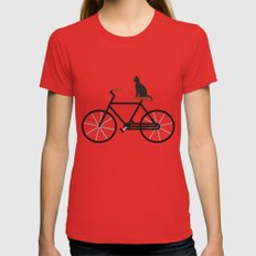 Cat Riding Bike X-LARGE Womens Fitted Tee Red