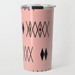 Retro Atomic Era Diamonds Pattern Pink Travel Mug