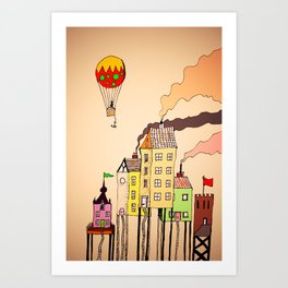Quirky Town Art Print