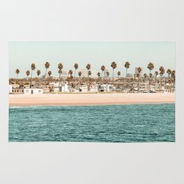 Vintage Newport Beach Print {1 of 4} | Photography Ocean Palm Trees Teal Tropical Summer Sky Rug