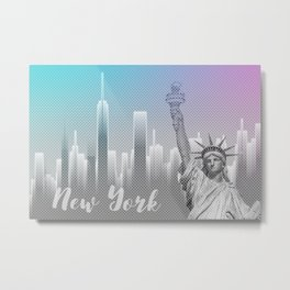 Graphic Art NEW YORK Mix No. 4 | funky cyan and pink Metal Print