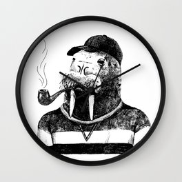 Walrus with a Pipe Wall Clock