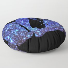world Map Blue Swirl Galaxy Sparkle Floor Pillow
