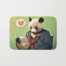 Wise Panda: Love Makes the World Go Around! Bath Mat