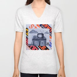 retro TV & Bowl Unisex V-Neck