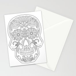 Color Me Day of the Dead Skull Stationery Cards