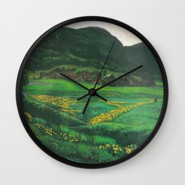 Idyllic Mountain and Meadow Landscape, A Clear Night in June by Nikolai Astrup Wall Clock