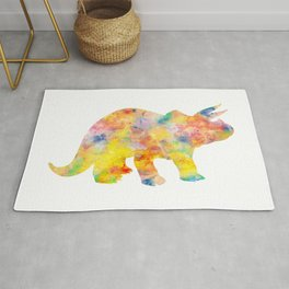 Yellow Triceratops Watercolor Painting Rug
