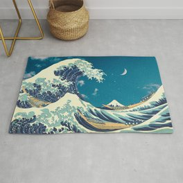 Great Wave Off Kanagawa and Starry Sky Rug