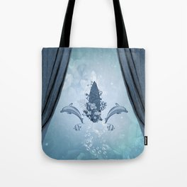 Sport, surfboard with dolphin and flowers Tote Bag