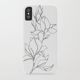 Botanical illustration line drawing - Magnolia iPhone Case
