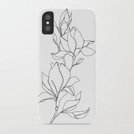 Botanical illustration line drawing - Magnolia iPhone Case