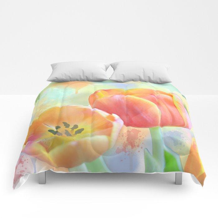Pastel Painterly Tulips Comforters