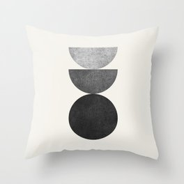 Woodblock B&W Mid century modern Throw Pillow