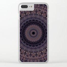 Mandala in cherry and plum tones Clear iPhone Case