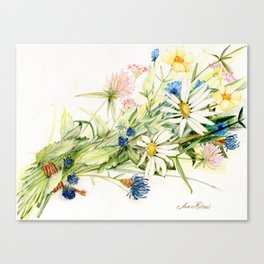 Bouquet of Wildflowers Original Colored Pencil Drawing Canvas Print