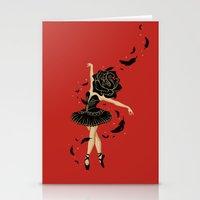 black swan Stationery Cards featuring Black Swan by Enkel Dika