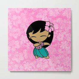 Aloha Honeys Hawaiian Hula Girl Cartoon Metal Print