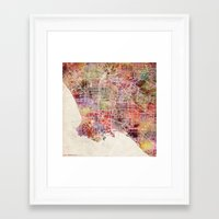 los angeles Framed Art Prints featuring Los Angeles by Map Map Maps