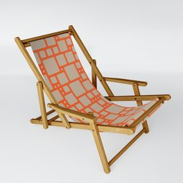 abstract cells pattern in orange and beige Sling Chair