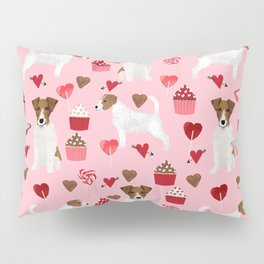 Jack Russell Terrier valentines day cupcakes and hearts love pattern gifts for dog lovers Pillow Sham
