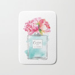 Perfume, watercolor, perfume bottle, with flowers, Teal, Silver, peonies, Fashion illustration Bath Mat
