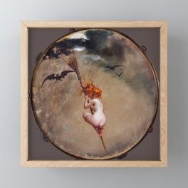"Luis Ricardo Falero ""The witch, painted on a tambourine"" Framed Mini Art Print"