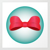 Red Bow Bubble Art Print
