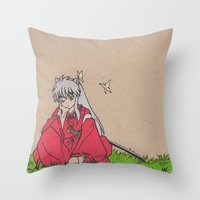 inuyasha Throw Pillows featuring InuYasha by MoonKitty Designs