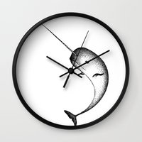 narwhal Wall Clocks featuring Narwhal by Nicole Cioffe
