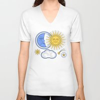 sun and moon V-neck T-shirts featuring Vintage Sun and Moon by Petya Hadjieva (ragerabbit)